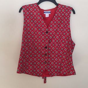 Pendleton Red vest with designs. Plus Size 14
